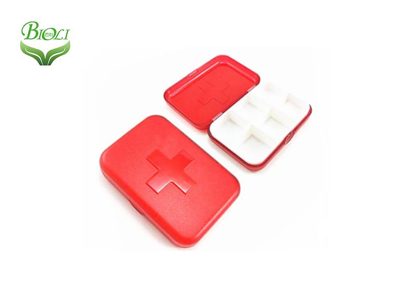 Organizador de pastillas de plástico 6 estuche rojo claro